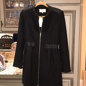 Zara Black Peplum Coat with Leather Detail